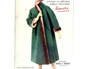 Modes & Travaux, Vintage French fashion magazine,  1955 winter fashion news