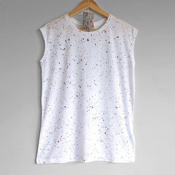 SMART WHITE top. Ladies sleeveless top with colour splash pattern in rose gold, gold, black and grey. White sleeveless top. Organic clothing