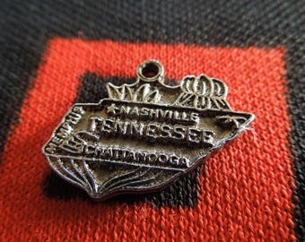 State of Tennessee Charm Silver Tone Tennessee Charm for Bracelet from Charmhuntress 05058