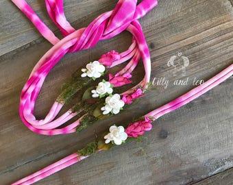 Newborn Tie back/Baby Headband/Photo Prop/Newborn Organic Tieback/Floral Stretch Jersey/Organic Headband/Floral Tieback/RTS/Free Shipping