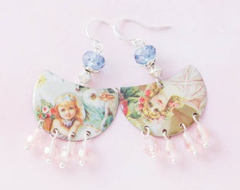 Victorian Art Earrings with Pink and Blue Glass Beads and Vintage Tin, Victorian Earrings, Bird Earrings