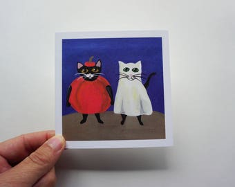 """Cats Trick or Treating 4x4"""" Print, Halloween Cat Print, Cats Trick or Treating Print by Amber Maki"""