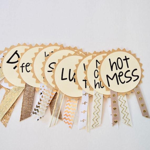 Gold Bachelorette Party Pins Name Tags Sash