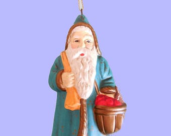 Old World Santa Ornament, Christmas Eve Inc 1983. 1850 Santa Reproduction, Made in Korea Ceramic Santa Collectible 1980s