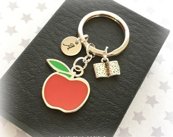 Teacher gift - Red apple keyring - Personalised teacher keyring - Red apple keychain - Gift for teacher - Apple gift - Stocking filler - UK