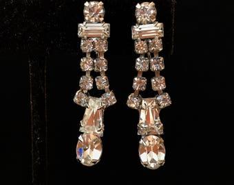 Vintage Clear Rhinestone Dangle Earrings Crystal Silver Drop Wedding Earrings Something Old Bridal Bridesmaid Jewelry Vintage Estate Jewelry