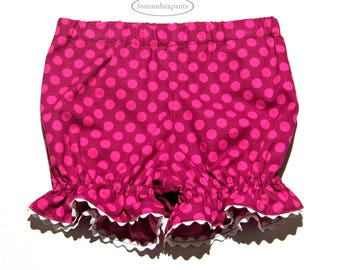 Pink polka dot bloomers, girls pink bloomers, fully lined, Toddler girl bloomers, white ric rac trim, pink pants, pants with dots