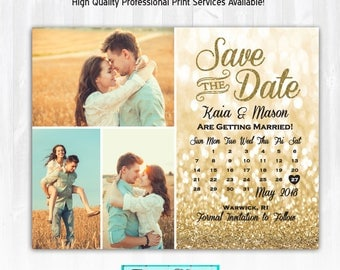 Gold Glitter Save The Date Magnet or Card DIY PRINTABLE Digital File or Print (extra) Glitter Save The Date Calendar 3 Photo Save The Date