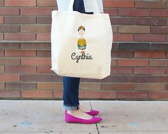 Frida Personalized School Tote Bag // Custom Frida Kahlo Book Bag // Frida Personalized Tote Bag