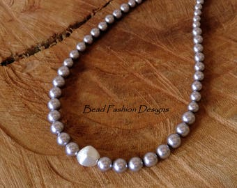 Graduated Lavender Swarovski Pearls and Sterling Silver Necklace
