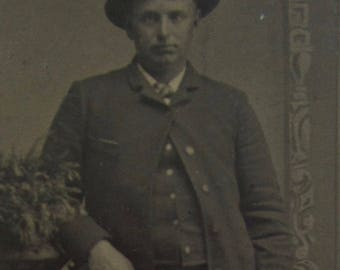 Living The Dream - Awkward 1870's Handsome Man Tintype Photograph - Free Shipping