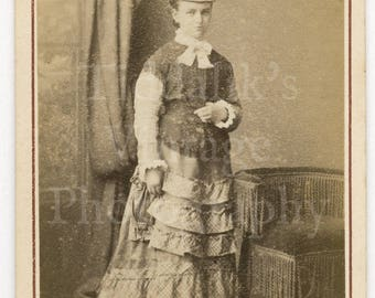 CDV Carte de Visite Photo Victorian Young Standing Woman Frilly Long Dress and Neck Bow by Boarder of Shepherds Bush London England