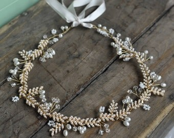Bridal Boho Halo , Wired Vine, Headband, Tiara with  Rhinestones Crystal beads and Faux pearls