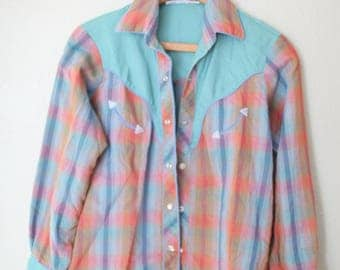 vintage green rainbow embroidered plaid western cut pearl snap button up shirt
