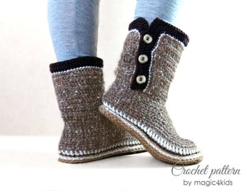 Crochet pattern- women boots with rope soles,soles pattern included,women sizes,slippers,loafers,buttons,adult,girl,cord soles,shoemaking