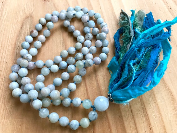 Aquamarine Mala Beads, Throat Chakra Mala, Vishuddha Chakra Mala, Yoga Jewelry, Silk Sari Tassel Necklace, Meditation Mala Beads