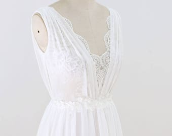 Lace Chiffon Wedding Dress with Handmade Flowers Simple A Line Wedding Dress with Plunging Neckline Beach Wedding Dress Sexy Bridal Gown