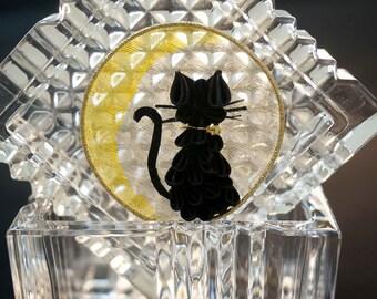 Neko (Cat) and Golden Moon Kanzashi Hair Ornament 348