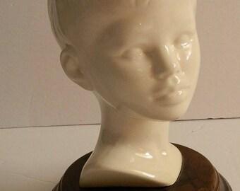 Retro White Ceramic Mounted Atlantic Mold Boy Bust Statue
