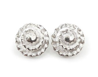 Vintage Swirl Earrings, Silver Tone, Clip Ons