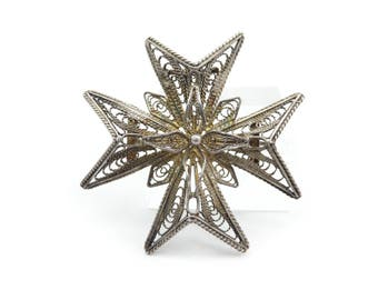 Vintage Maltese Cross Pendant, Brooch, Filigree