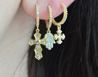 Gold charm hoops, cz gold hoops, small cz hoops, gold star hoops, crescent moon hoops, small hoops, cz star hoops, cz crescent moon hoops