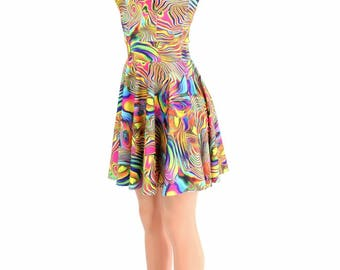 Tropical Swirl Print Darted Cap Sleeve Fit and Flare Skater Dress -E7965