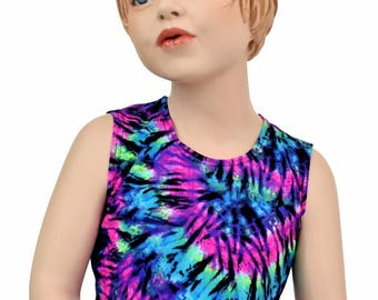 Girls Sleeveless Hippie Crop Top TOP ONLY in Purple & Turquoise Tie Dye UV Glow Black Light Reactive Sizes 2T 3T 4T and 5-12 - 154699