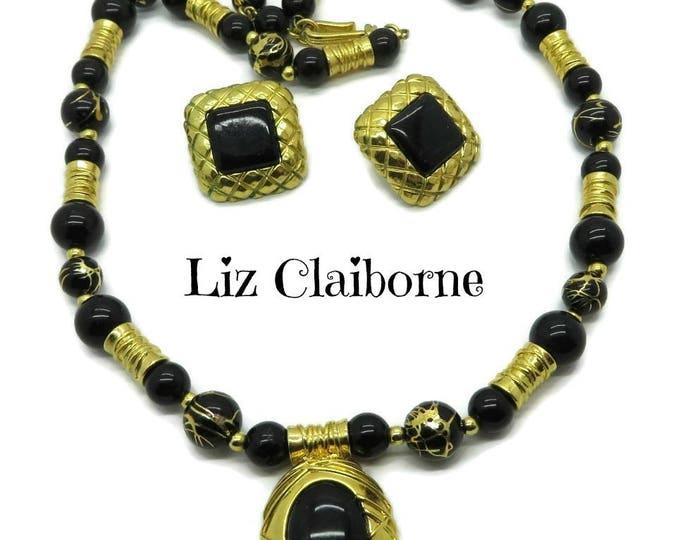 Liz Claiborne Necklace, Earrings, Vintage Black Gold Demi Parure, Holiday Gift