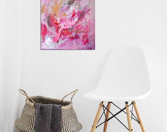"Abstract Painting Pink Art Acrylic Original // ""Rush of Light"" 16 x 20"" on Canvas"