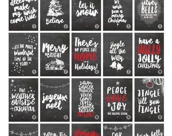 CHRISTMAS Chalkboard ADVENT CALENDAR 25 Holiday Cheer and Musical Lyric Prints  //  25 4x6 Holiday Prints // Instant Download