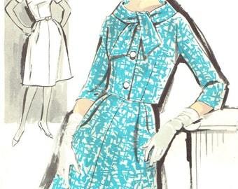 Advance 2879 Vintage 1960s Sewing Pattern Mod Womens' Petite Half Size Dress With Short Jacket