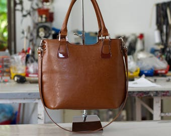 LEATHER TOTE BAG, Camel Leather Bag, Leather Shoulder Bag, Leather Handbag, Leather Tote, Woman Leather Bag, Women Leather Tote