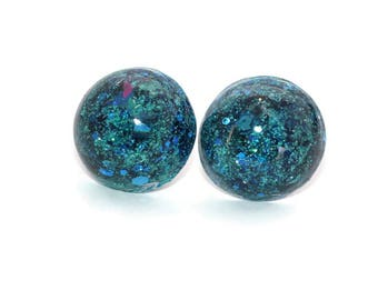 Big Blue Studs Blue Glitter Earrings Holo Azul Color Stainless Steel Post Jewellery Pretty Iridescent Galaxy Ear Rings