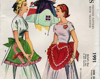 1950s Half Apron Sewing Pattern McCall's 1991 Misses' Short Aprons Sweetheart Holiday Hostess Vintage Susie Homemaker Apron & Transfer UNCUT