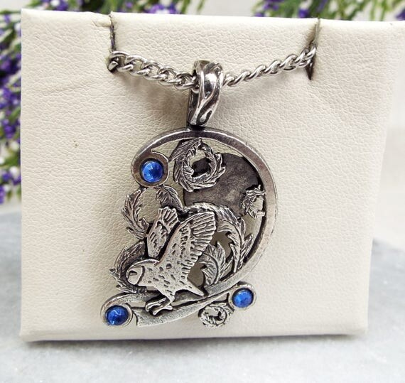Silver Pewter Stunning Night Owl Scene Pendant Necklace with Blue Glass Stones