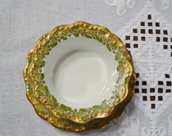 Vintage Limoges Blakeman Hendersen Bowl with Matching Under Plate Gold Green Acorn and Leaf B & H France PanchosPorch