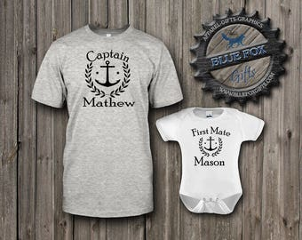 Captain and First Mate Shirts,Father and son gift,Personalized family shirts,Daddy and me outfits,Father and daughter Matching shirts,008