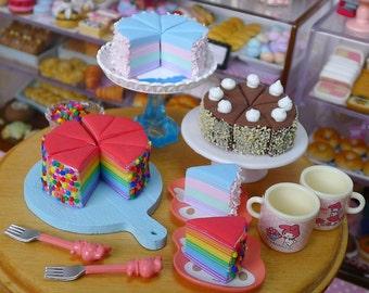Miniature Crêpe Cake Slice Dolls Food 1:6 Scale Pastel Rainbow, Chocolate, Rainbow  Handmade by Nadia Michaux