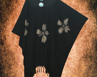Minimalist Bleached Floral Hand dyed Fringe Beach Cover Up Poncho Top