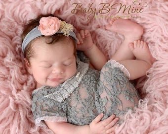 Short Sleeve Lace Romper; Newborn Girl Romper; Gray; Newborn Photo Prop; Baby Girl Outfit