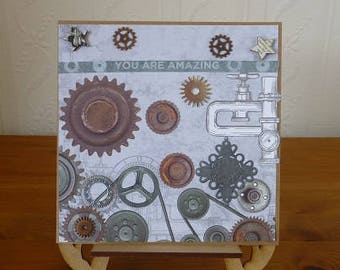 Steampunk 'You are amazing' Male Birthday Card