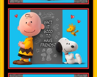 GOOD FRIENDS - Charlie Brown / Snoopy Panel in Multi - Peanuts Cotton Quilt Fabric - Quilting Treasures Fabrics - 26186-X (W4373)
