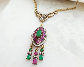 Ruby Emerald Necklace - Diamond Ruby Necklace - Regal Jewelry Gemstone - Cubic Zirconia - Red & Green Jade Necklace - Antiqued Gold N2466