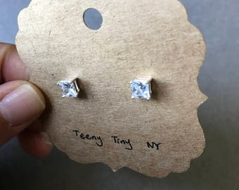 Silver CZ Square Diamond Cut Stud Earrings- Sterling Silver