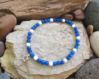 Bright Blue and White Agate Elastic Anklet with Silver Star Charm