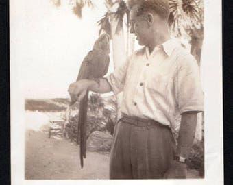 Vintage Snapshot Photo Man Posing with Parrot on Arm 1940's, Original Found Photo, Vernacular Photography
