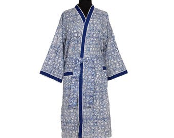 COTTON DRESSING GOWN - Block printed - Blue and White pattern