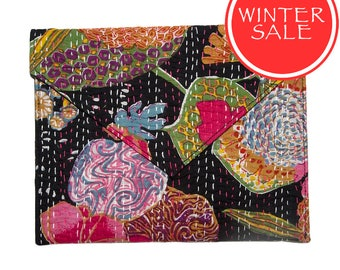 WINTER SALE - Tablet Sleeve / Clutch Bag - Tropical Flower Black Pattern