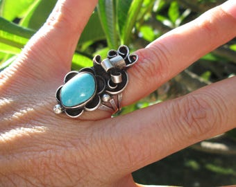Native American Turquoise and Sterling Silver Ring Size 6